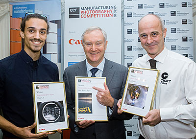 EEF 2016 Photography Contest Winners - L to R: Henry Gill, Winner Young Category, Terry Scuoler, Chief Executive Officer at the EEF, with the Winning Professional photograph by Mike Brookes Roper (who was unable to attend the awards ceremony) and Rob Watkins, Winner of the Amateur Category.