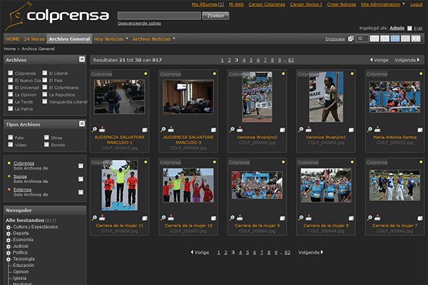 Media bank Colprensa MediaFiler Digital Asset Management software