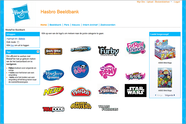 Media bank Hasbro MediaFiler Digital Asset Management software