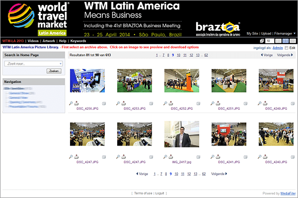 World Travel Market Latin America mediabank MediaFiler